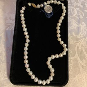 14K Genuine FW cultured pearls with 14 karat gold